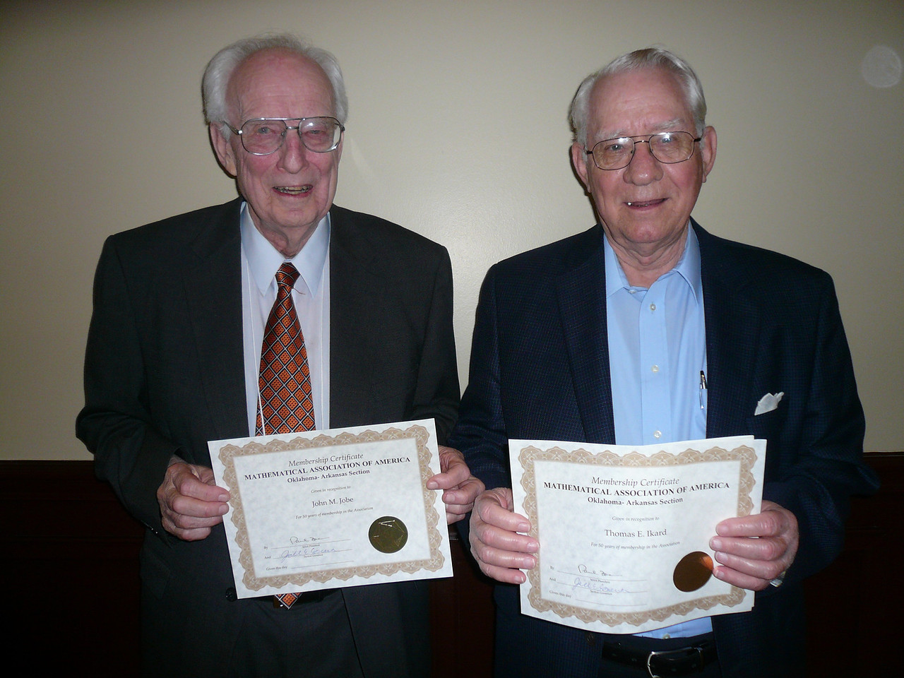 Two longtime members of the MAA from the OK-AR Section