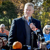 Governor Charlie Baker speaks at the monument dedication for Mathew Boule. He speaks comforting words to Mathew's parents, Sue and Leo Boule. SUN/Caley McGuane