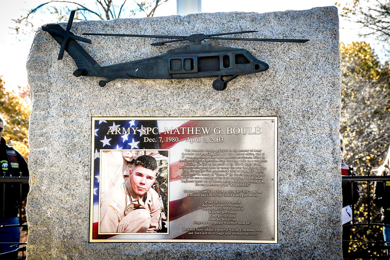 A monument is dedicated to Mathew G. Boule who was only 22 when the Black Hawk helicopter he was in was shot down in Iraq. SUN/Caley McGuane