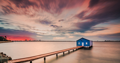 Blue Boatshed at Dawn