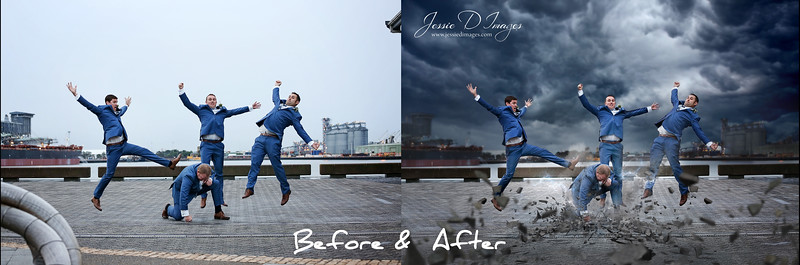 Superhero wedding before and after edit