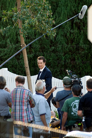 "Matthew McConaughey during the set of "" The Lincoln Lawyer"" with co-star Ryan Philippe and Director Bred Furman  in Pasadena,California."