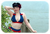 Lakeside Retro Pinup photo shoot : Greenwood Lake NY.  Lakeside - individual Retro Pinup photo shoots.  Makeup was done by Fatale Makeup MM#  1511272. Hair was done by Bettie's Revenge Hair MM#1852082 and Swimsuits were provided by Fables by Barrie MM#  362221.