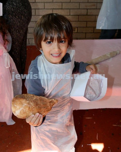 Matzah Bakery at Hug A Bub. Diego Pagano with his freshly baked Matzah. Pic Noel Kessel.