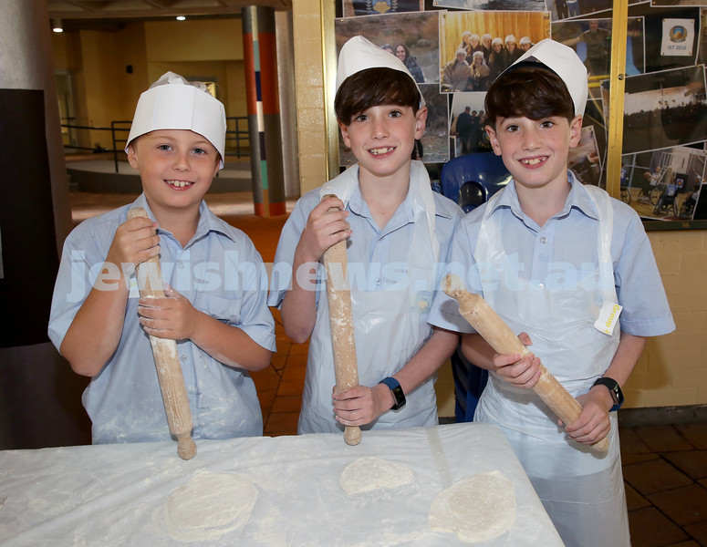 Matzah Bakery at Masada Primary School. From left: Ethan Leshetz, Saul Newhouse, Aaron Newhouse. Pic Noel Kessel