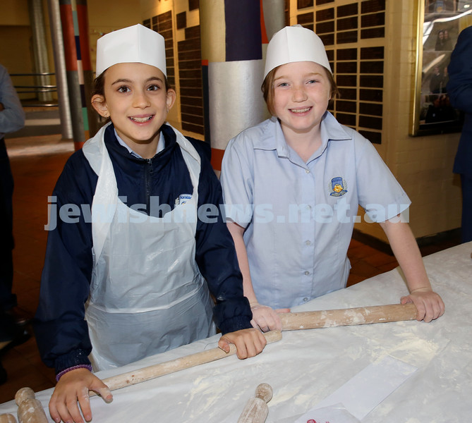 Matzah Bakery at Masada Primary School. Lylah Wainer (left), Mikaela Ryder. Pic Noel Kessel