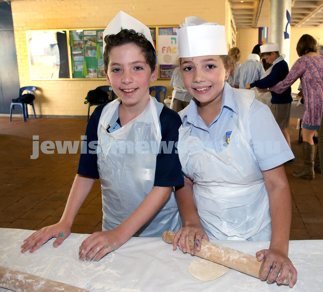 Matzah Bakery at Masada Primary School. Riley Goldin (left), Samara Toynton. Pic Noel Kessel