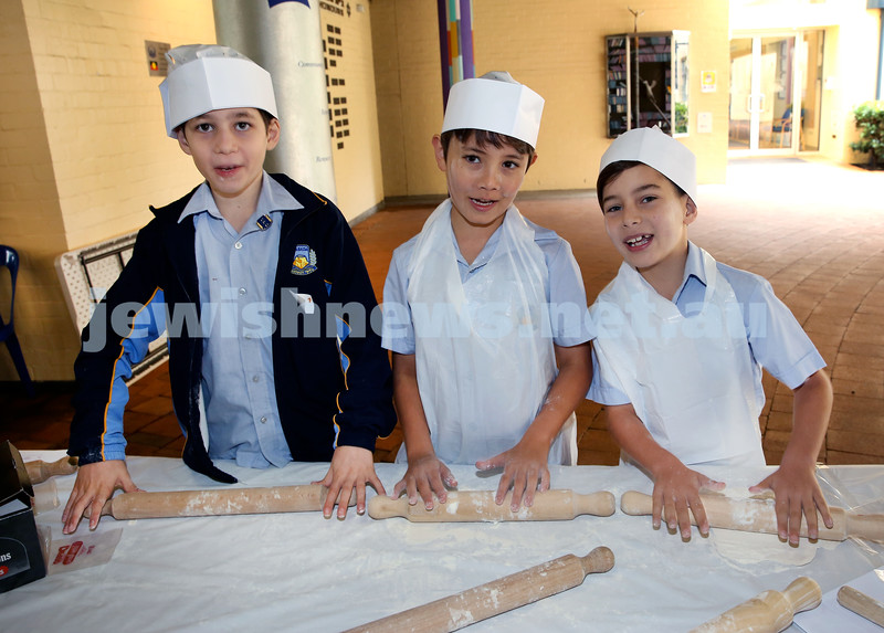 Matzah Bakery at Masada Primary School. From left: Seth Lasarow, Asher Cohen, Rhys Ganas. Pic Noel Kessel