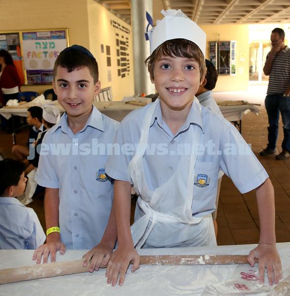 Matzah Bakery at Masada Primary School. Ari Siganos (left), Theo Samuel. Pic Noel Kessel