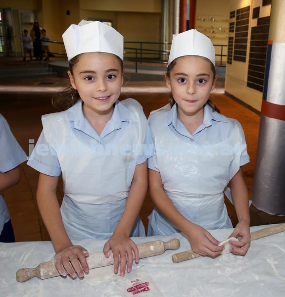 Matzah Bakery at Masada Primary School. Talia Hilel (left), Emily Hilel. Pic Noel Kessel
