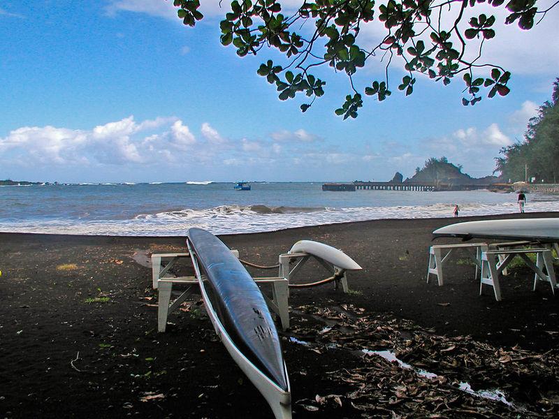 Black sand beach - Hana Bay