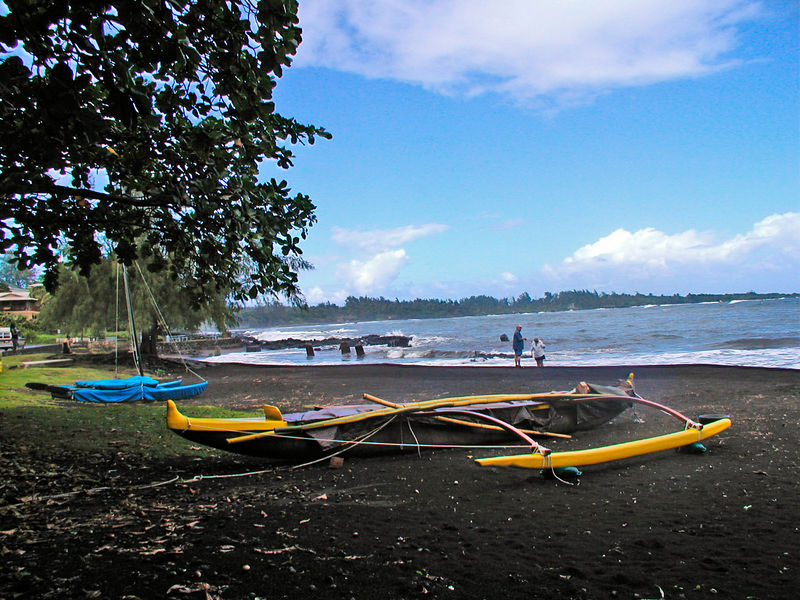 Black sand beach - Hana Bay