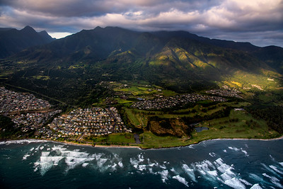 Aerial view of Maui green mountain, Hawaii