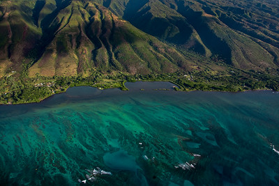 Aerial view of Molokai coast and mountain, Hawaii