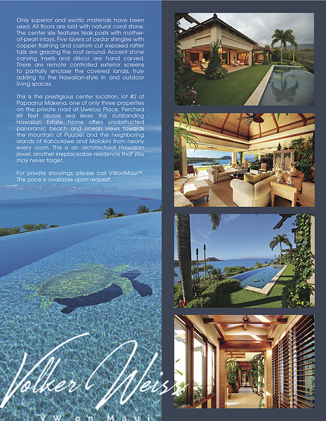"Page 3 of the brochure for 38 Uweloa Place, Papaanui Makena, Makena, Hawaii. Makena Homes and Makena Real Estate including Papaanui Makena in South Maui are viewed best at VWonMaui. ""VW"" is Volker Weiss, the Maui Real Estate Agent."