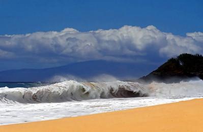 10 foot shore break at Big Beach near Kihei Maui.