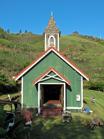 This often photographed church in Kahakuloa is receiving some repairs.