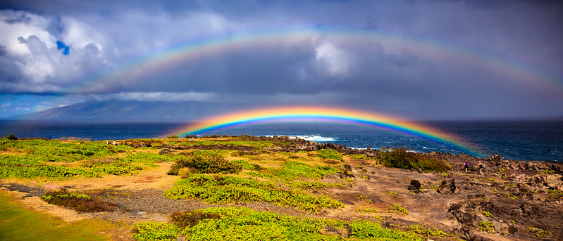 Double rainbow had traveled more than fives from the Island of Molokai in less than five minutes. See previous photo to see where it started from and what it looked like, It  ended up right in from of our condo and stopped when it hit land.