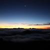 Crescent moon over Mt. Haleakala