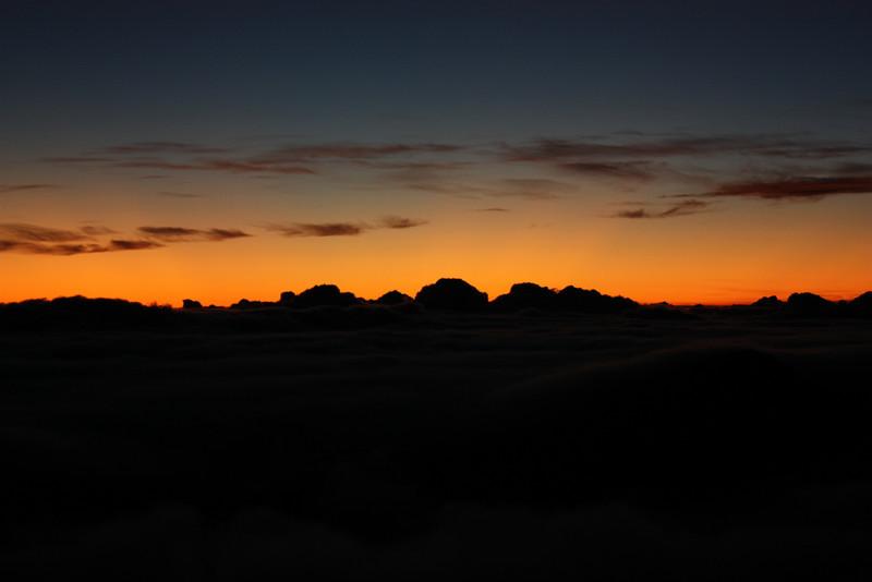Before sunrise at the top of Mt. Haleakala