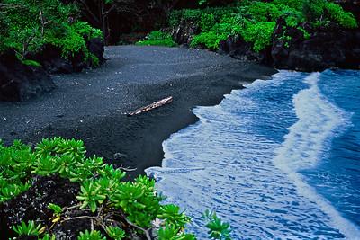 Honokalani Black Sand Beach, Hana, Maui.