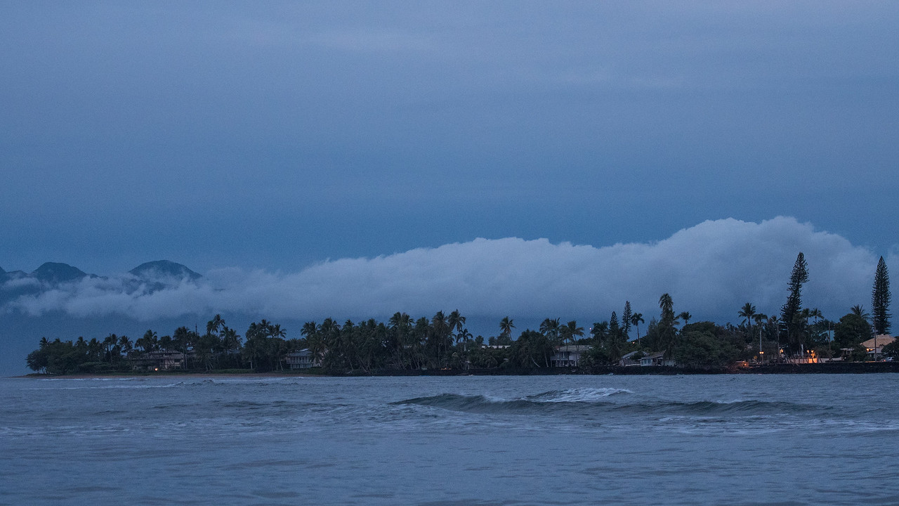 Lahaina town harbor in Maui just as dawn is breaking.  A great time to go observe and photograph whales.