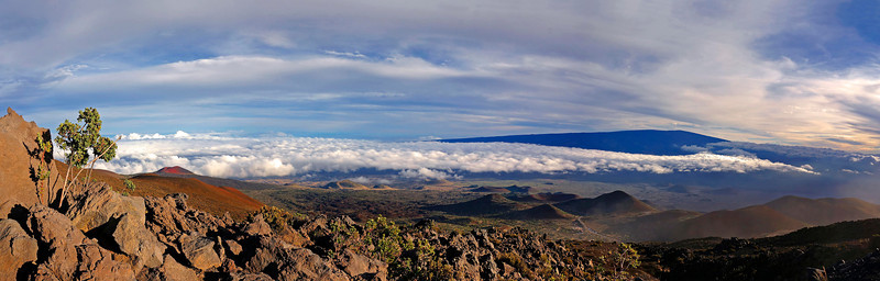 Mauna Loa volcano view from half way up Mauna Kea.