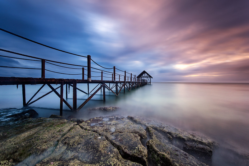 Mauritius; Seascape; Landscape; Sea; Rocks; Clouds; Sunset;Pier