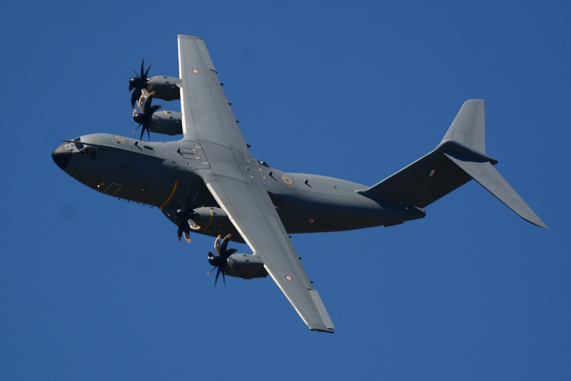 The Airbus A400 military transport. Used to by the French Air Force Demo Team (Patrouille de France)