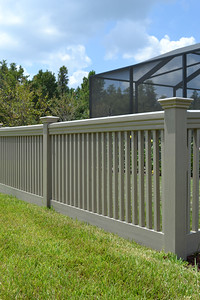 Custom Adobe Streaked and Embossed Sacramento Fence with Maxwell Rail