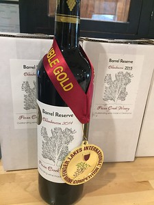 MIKE ELSWICK/Muskogee Phoenix Pecan Creek Winery of Muskogee's Barrel Reserve 2014, a dry red Chambourcin, won a top prize in the Red Hybrid category at the Finger Lakes International Wine Competition in New York state in April.