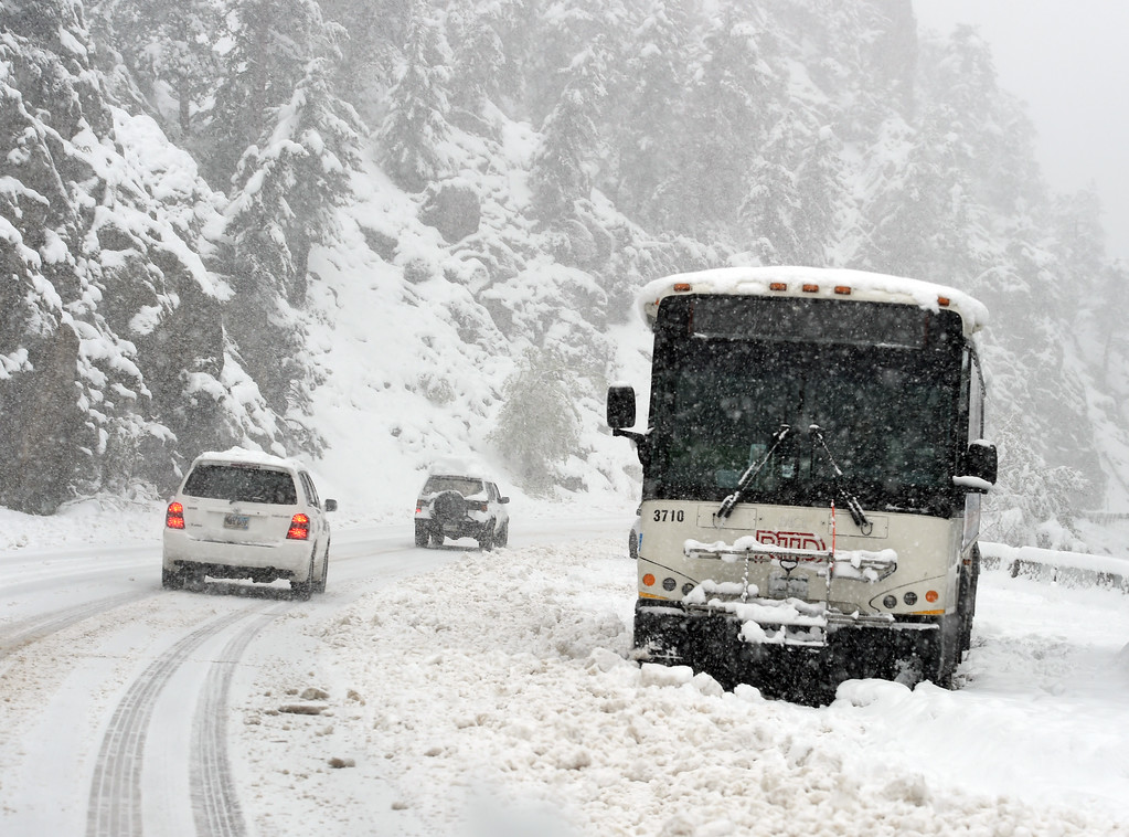 . An RTD bus is stranded along Highway 119 at Boulder Falls  during a steady snow in Boulder canyon. For more photos, go to www.dailycamera.com.  Cliff Grassmick  Staff Photographer May 18, 2017