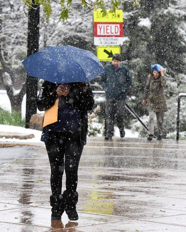 . A woman walks to the Boulder County Justice Center during a steady rain/snow mix in Boulder County. For more photos, go to www.dailycamera.com.  Cliff Grassmick  Staff Photographer May 18, 2017