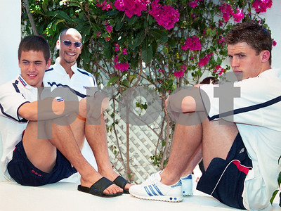 Rio Ferdinand and Joe Cole at Press Conference with the England National Football Squad training at La Manga Club, May 2001