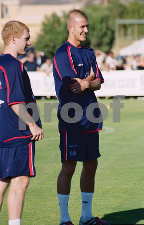 David Beckham and Paul Scholes with the England National Football Squad training at La Manga Club, May 2001