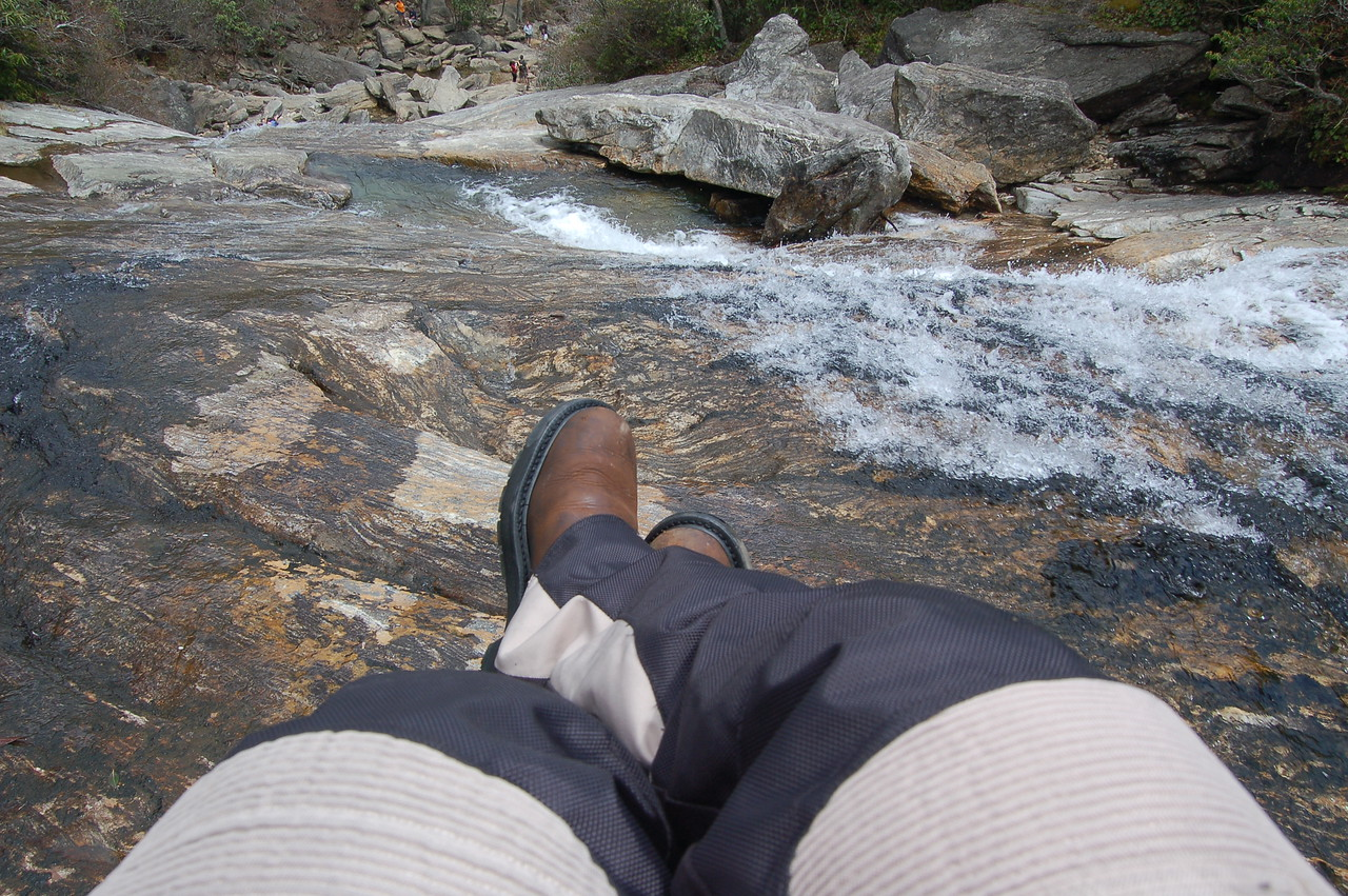 Day 4: Tom dangling his feet over a BRP waterfall.  (Tom)