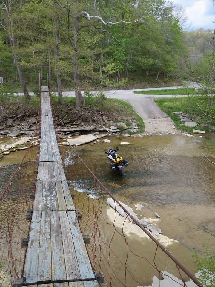 Day 1: Footbridge over the Ohio Brush Creek on SR41 near the Ohio River. (Mark)