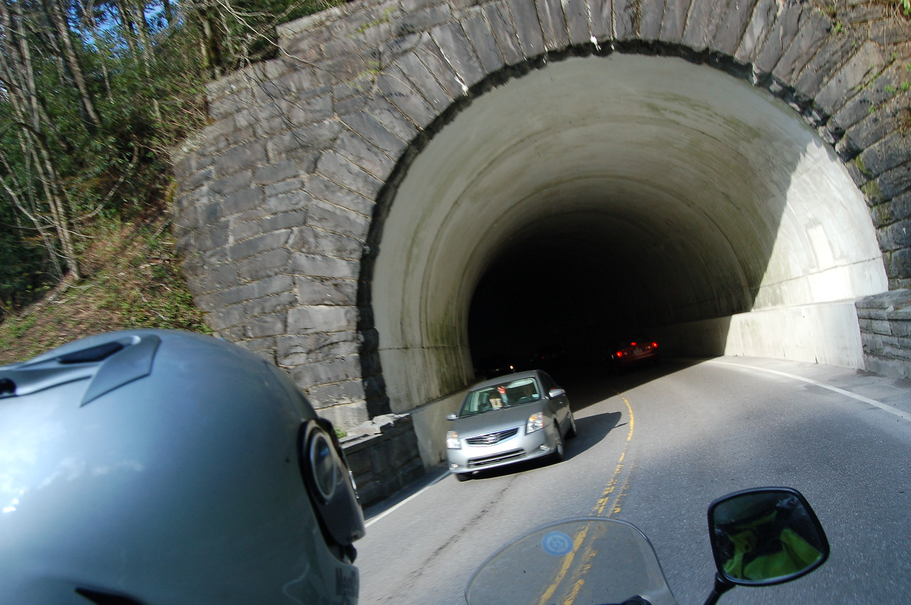 Day 3: Tom climbed on the back to get some pictures of one of the myriad of tunnels along the BRP.  (Tom)