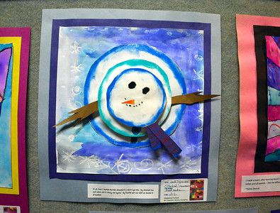 5/3/2016 Mike Orazzi | Staff Jack Furniss' Stacked Snowman art on display during the art show at the  Bristol Board of Education on Church Street Tuesday night.