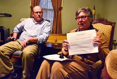 5/4/2016 Mike Orazzi | Staff Plainville residents James Ricketson and Kathy LaBella talk about a proposed crematorium near their homes on Whiting Street.