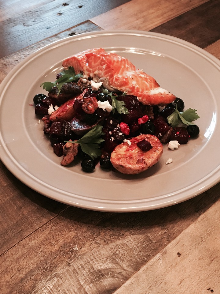 Natalie Unger: Honey Lemon Salmon with a Beet, Blueberry and Walnut Salad and Roasted Potatoes