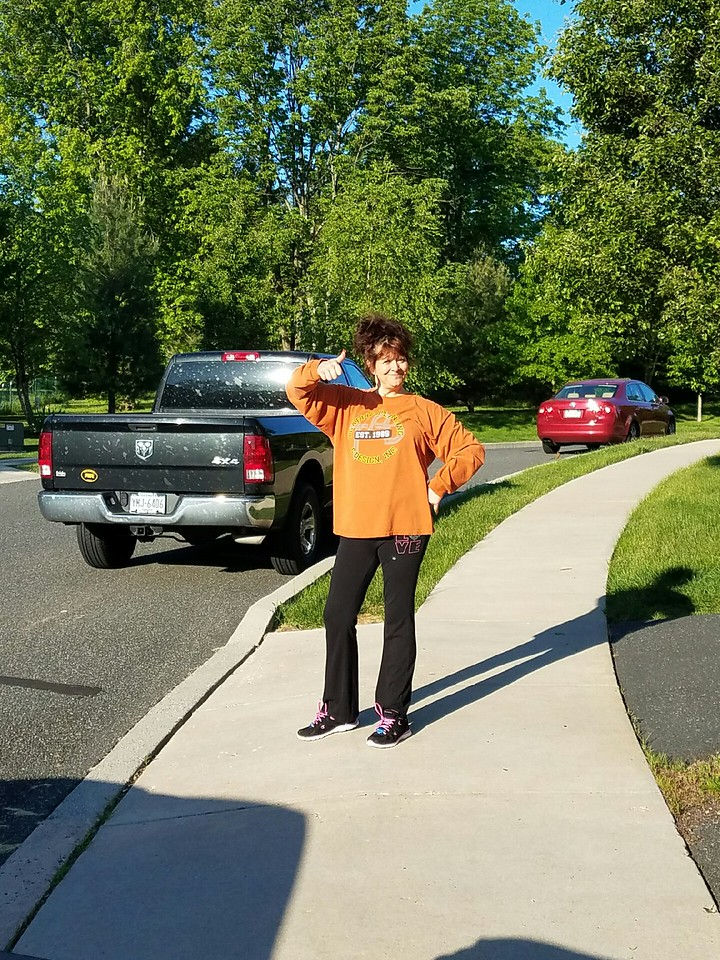 Gwen Himes: At 6 am after her 1 hour walk. UpperPottsgrove Hills