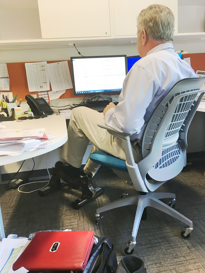 Kevin Johnson: Cycling under his desk