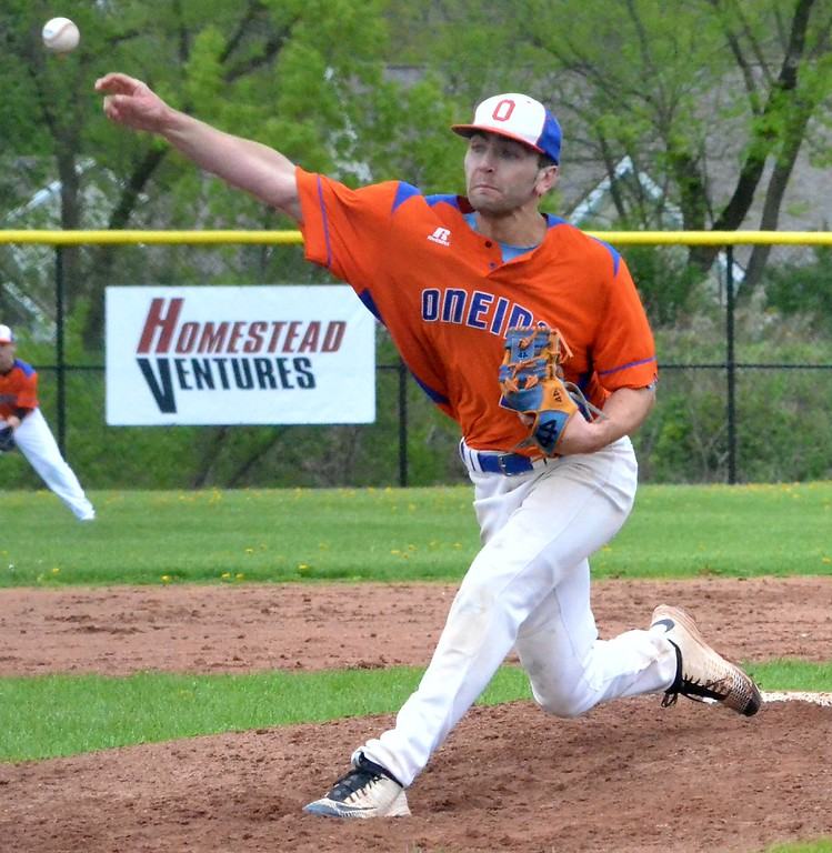. KYLE MENNIG - ONEIDA DAILY DISPATCH Oneida pitcher James Dick delivers a pitch to a Vernon-Verona-Sherrill batter during their game in Oneida on Tuesday, May 9, 2017.