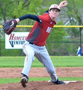 KYLE MENNIG - ONEIDA DAILY DISPATCH Vernon-Verona-Sherrill pitcher Connor VanDreason delivers a pitch to an Oneida batter during their game in Oneida on Tuesday, May 9, 2017.