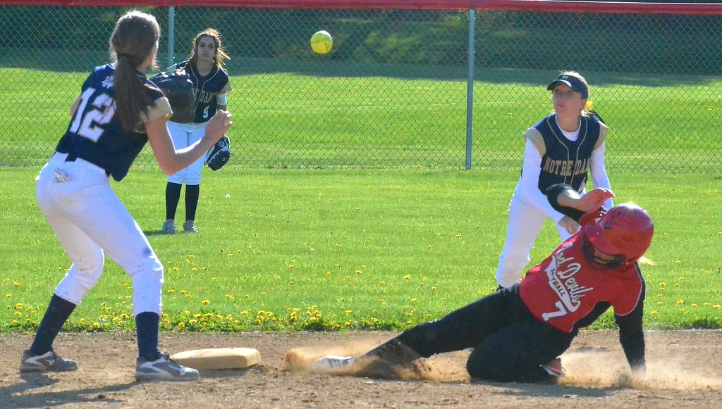 . KYLE MENNIG - ONEIDA DAILY DISPATCH Vernon-Verona-Sherrill\'s Kirsten Oliver (7) slides safely into second as Deanna Rostado (12) fields the throw during their game in Verona on Wednesday, May 3, 2017.