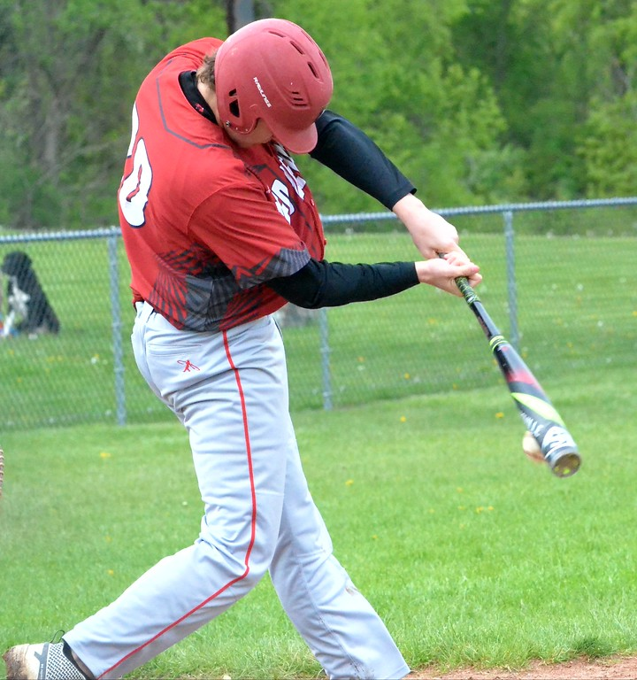 . KYLE MENNIG - ONEIDA DAILY DISPATCH Vernon-Verona-Sherrill\'s Alec Musacchio hits a ground ball against Oneida during their game in Oneida on Tuesday, May 9, 2017.