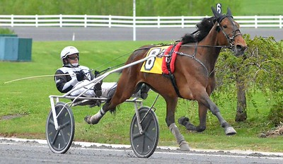 KYLE MENNIG - ONEIDA DAILY DISPATCH Chris Lems drives Gimme The Cash to the finish line to win the first race of the season at Vernon Downs on Friday, May 5, 2017.