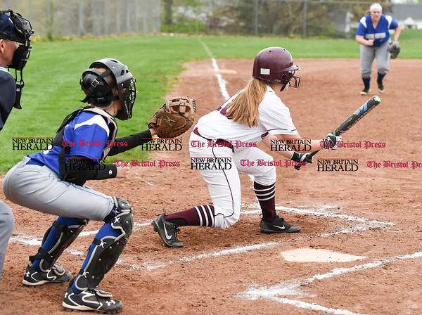 050117 Wesley Bunnell   Staff Bristol Eastern softball defeated Bristol Central on Monday afternoon. Bristol Eastern catcher Taylor Keegan (1)