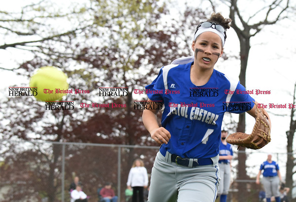 050117 Wesley Bunnell   Staff Bristol Eastern softball defeated Bristol Central on Monday afternoon. Lauren Aparo (4) chases down a foul ball.